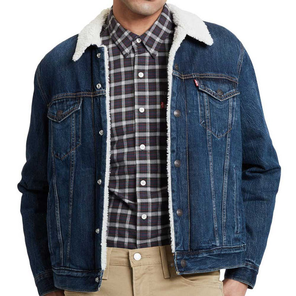 Levi's Type 3 Sherpa Trucker Jacket In Palmer Blue - 16365-0105