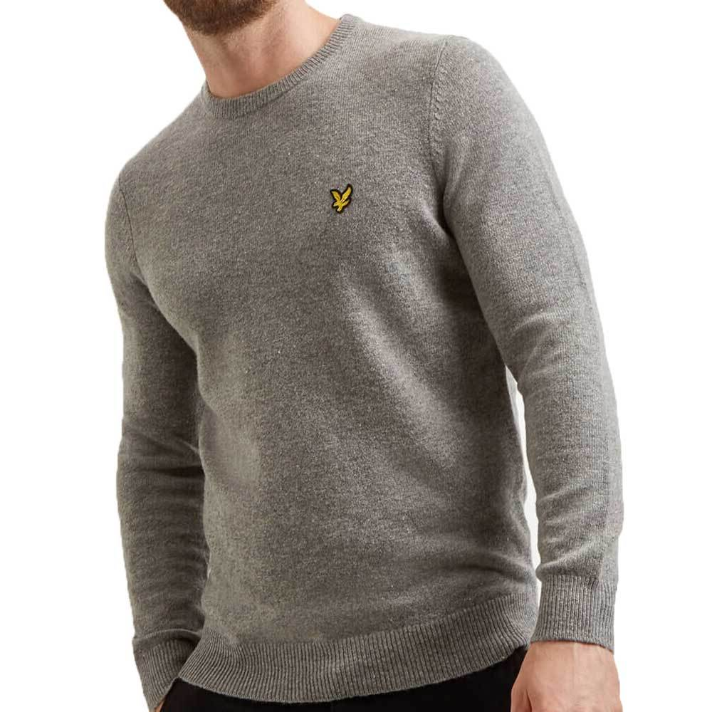 Lyle And Scott Cotton Merino Crew Neck Jumper - Mid Grey Marl