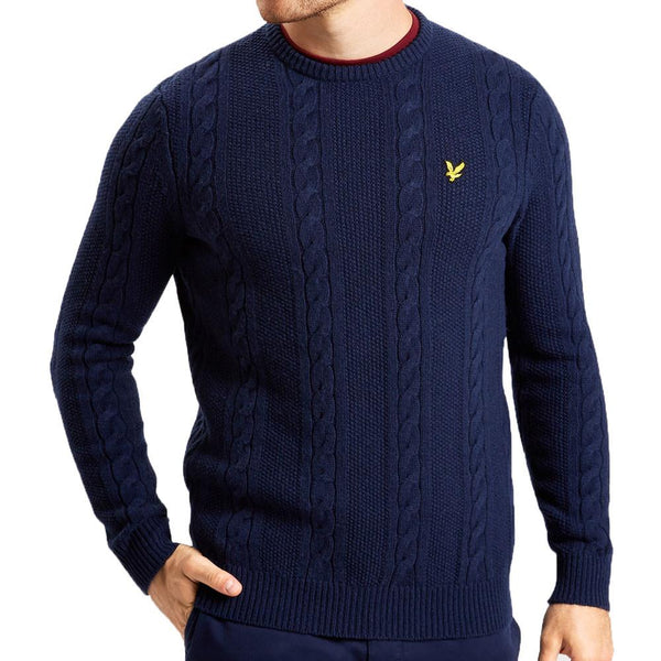 a59aa53a12ce4a Lyle and Scott KN511V Crew Lambswool Cable Knitwear