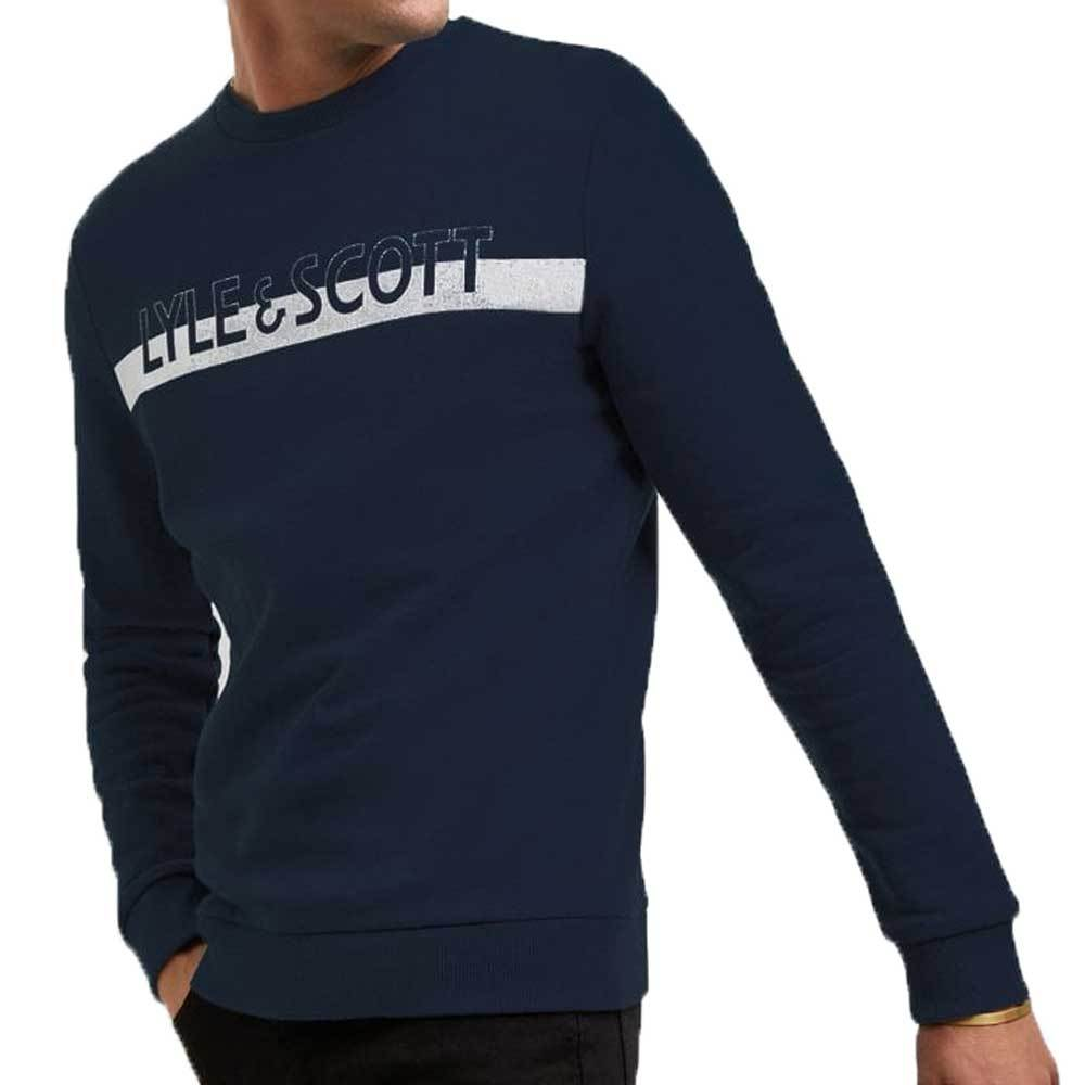 Lyle And Scott Logo Crew Neck Sweatshirt - Navy ML1111V