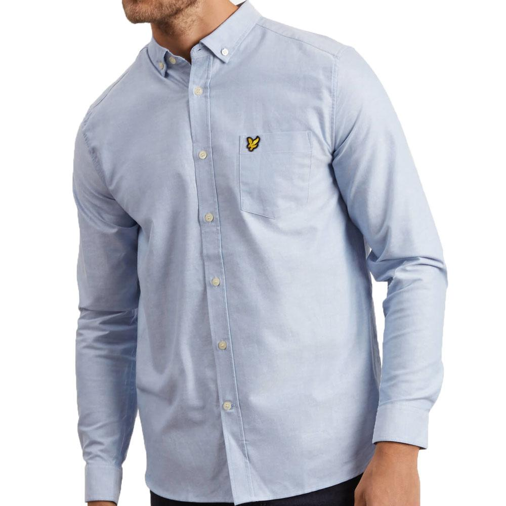 Lyle And Scott Long Sleeve Oxford Shirt - Riviera Blue - so-ldn