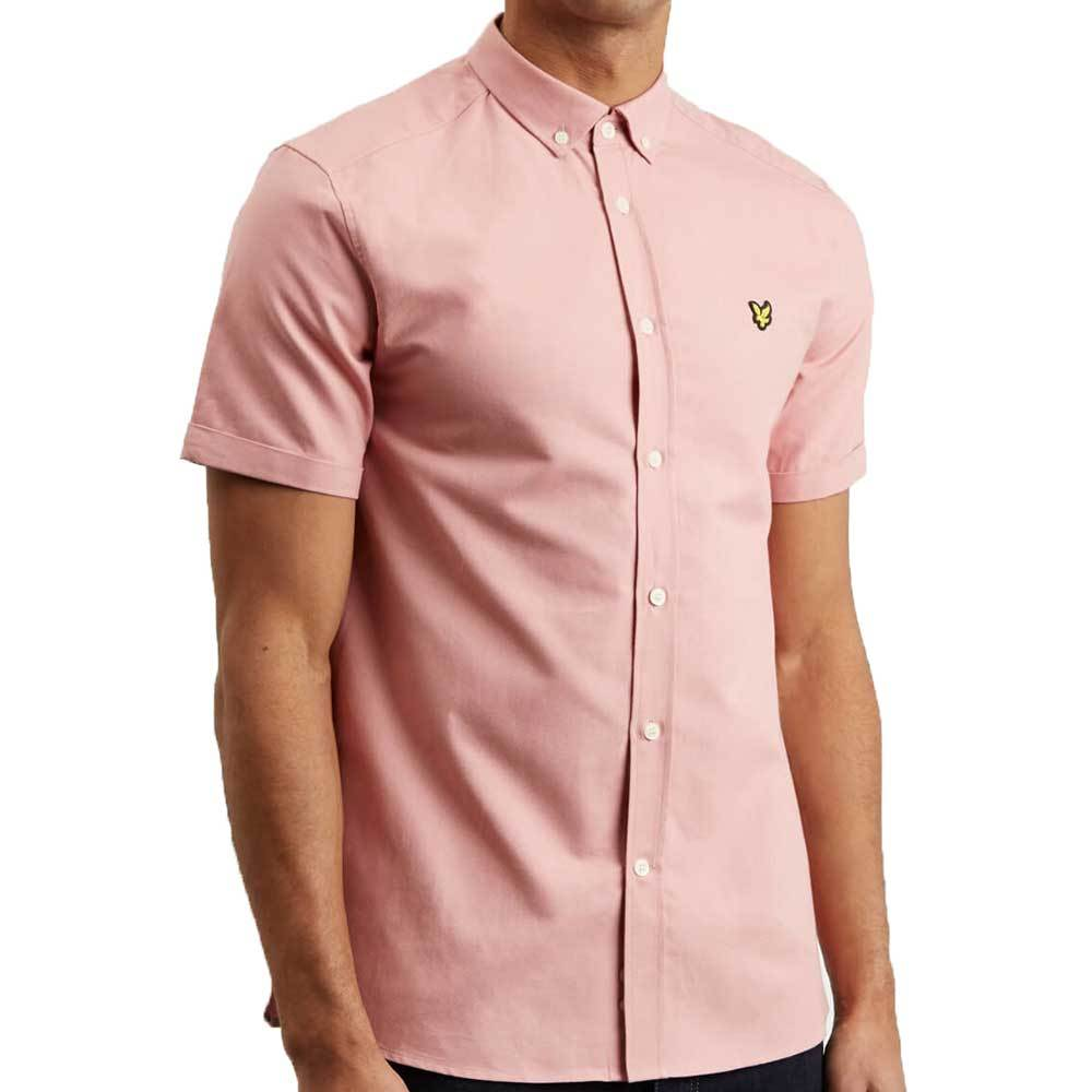 Lyle And Scott Men's Short Sleeve Oxford Shirt - Coral Way Pink - so-ldn
