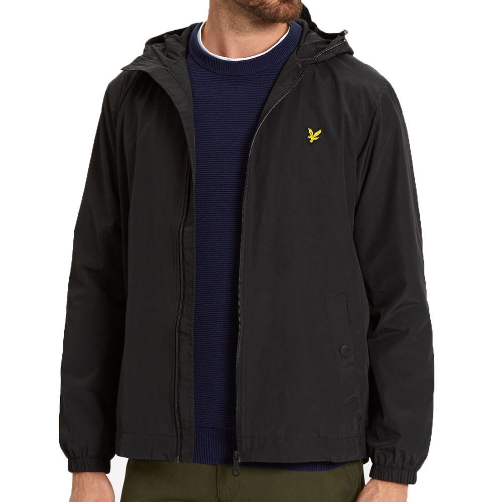 Lyle And Scott Zip Through Hooded Jacket - True Black - so-ldn