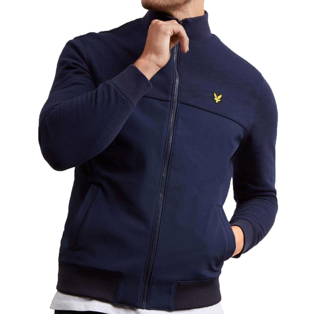 Lyle And Scott Zip Through Jersey Funnel Neck Sweatshirt - Navy - so-ldn