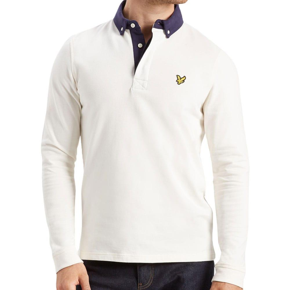 Lyle Scott Long Sleeve Rugby Top Polo Shirt Off White Lp500v