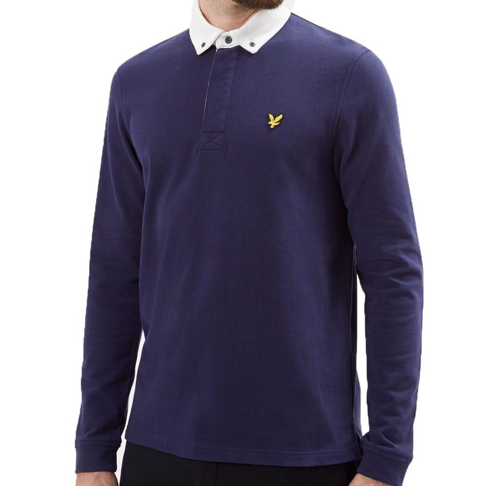 Lyle Scott Long Sleeve Rugby Top Polo Shirt Navy Lp500v