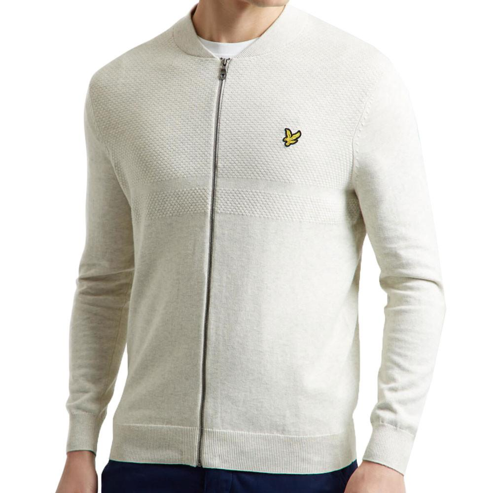 Lyle and Scott Off White Textured Yoke Bomber Jacket - so-ldn