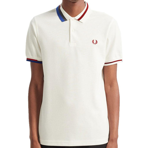 Fred Perry Authentic Abstract Collar Polo Shirt - Snow White M7604