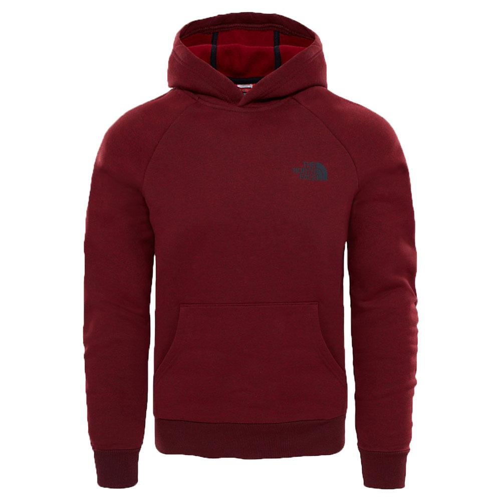 North Face Raglan Red Box Mens Pullover Hoody - Cardinal Red - so-ldn