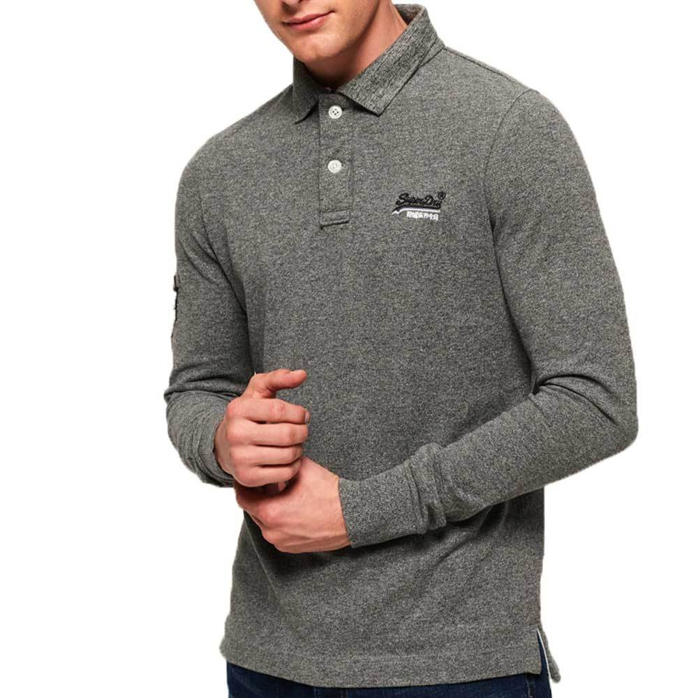 Superdry Classic Long Sleeve Pique Polo Shirt -  Hammer Grey Grit - so-ldn