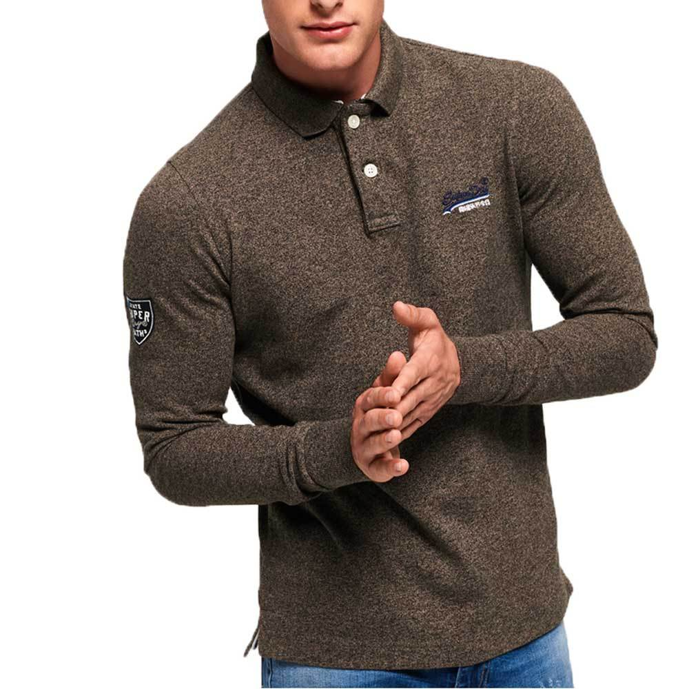Superdry Classic Long Sleeve Pique Polo Shirt -  Pebble Brown - so-ldn