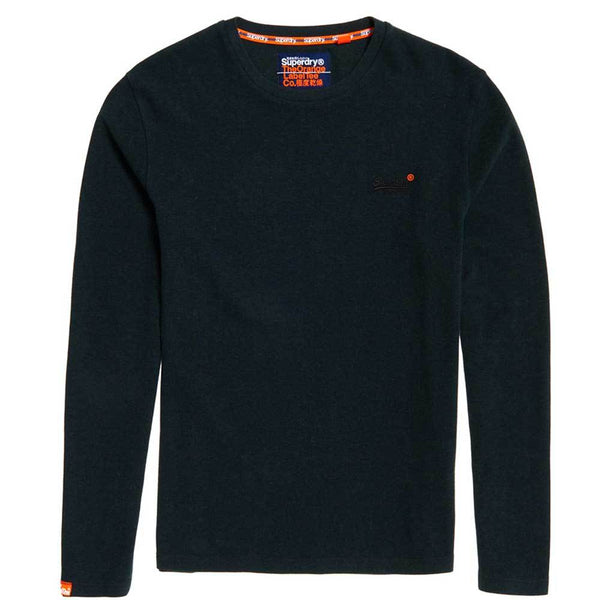 Superdry Men's Orange Label textured Long Sleeve T shirt - Green - so-ldn