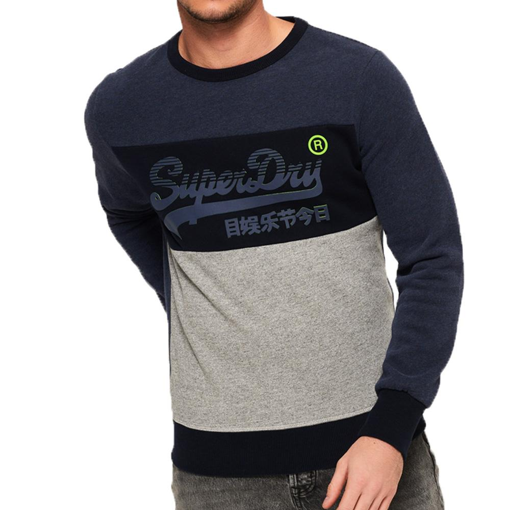 Superdry Men's Vintage Logo Panel Crew Sweatshirt - Shadow Cast Navy Marl - so-ldn