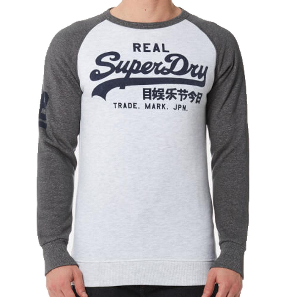 Superdry Mens Vintage Raglan Sweatshirt - Ice Marl Grey - so-ldn