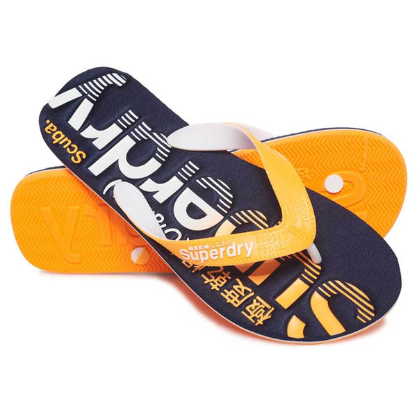Superdry Scuba Logo Faded Flip Flops Dark - Navy / Fluro Orange - so-ldn