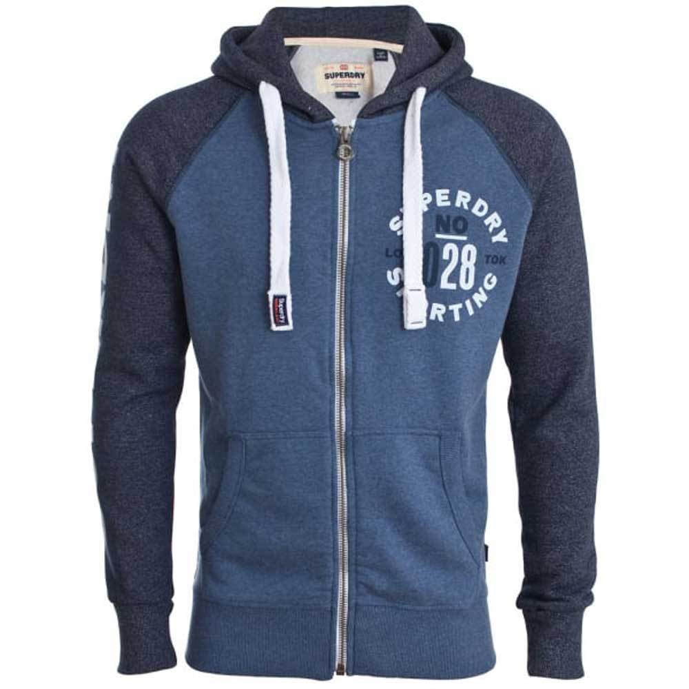 Superdry Sporting Raglan Zip Hoodie - Maritime Grit Blue M20016HP - so-ldn