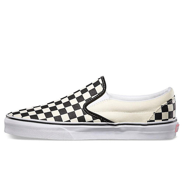 Vans Classic Slip On Canvas Checkerboard Trainers -  Black / White - so-ldn