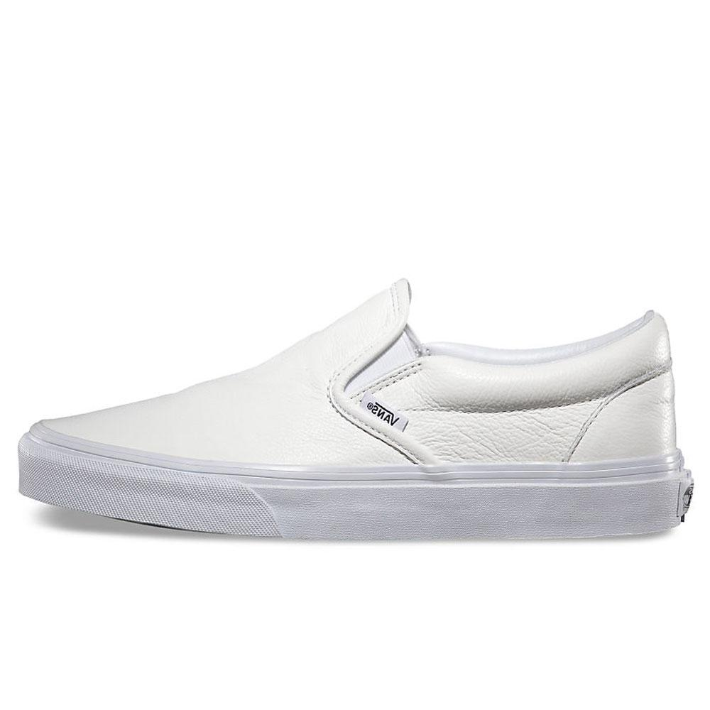 6233a9b945 Vans Premium Leather Classic Slip-On Trainers - White Mono - VN0XG8EW8 - so-