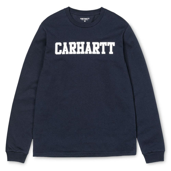 Carhartt WIP L/S College T-Shirt - Dark Navy - so-ldn