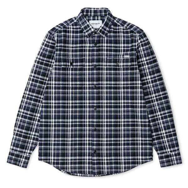 Carhartt L/S Stinson Check Shirt - Blue - so-ldn