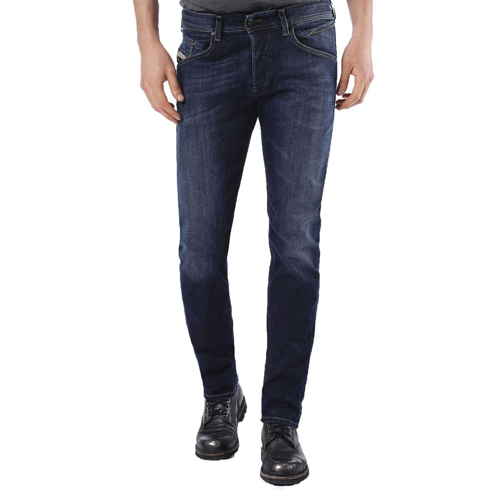 DIESEL Belther 0814W Slim Tapered Fit Stretch Jeans - Blue - so-ldn