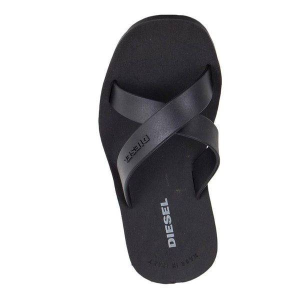 Diesel Plaja Wash Black Strap Plastic Sandals - so-ldn