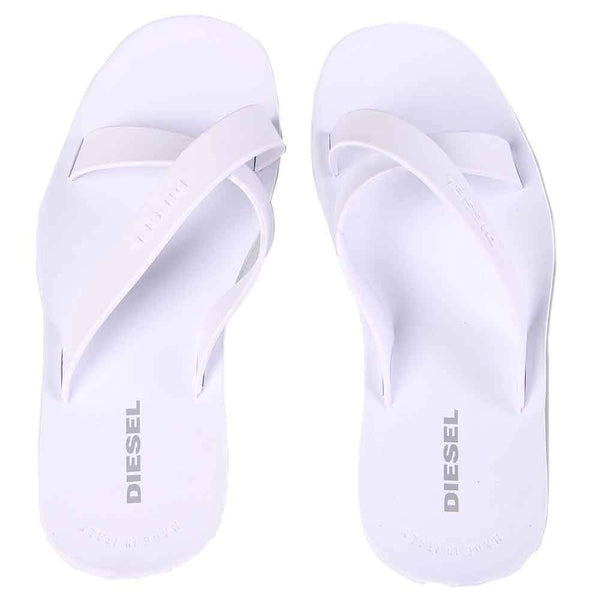Diesel Plaja Wash White Strap Plastic Sandals - so-ldn