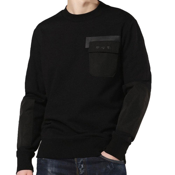 Diesel Black S-Crome Cotton Jersey Sweatshirt - so-ldn