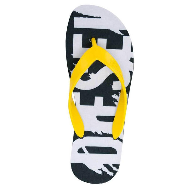Diesel Splish Flip Flops Sandals - Buttercup Yellow / Black - so-ldn