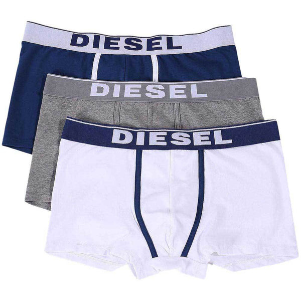 Diesel Navy / Grey / White UMBX-DAMIEN  3 Pack Boxer Trunks - so-ldn