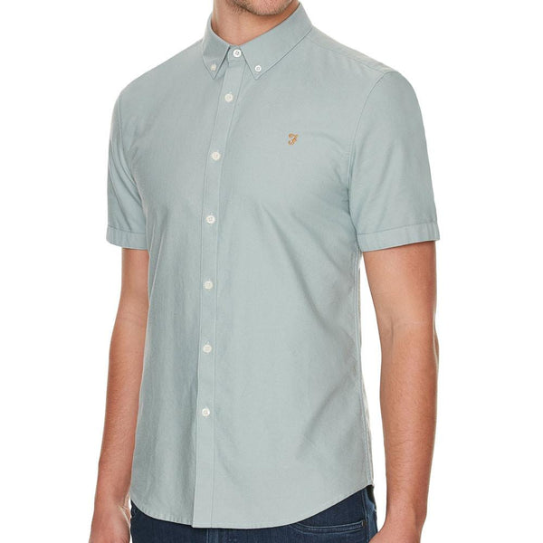 Farah Brewer Pine Green Short Sleeve Slim Fit Shirt - so-ldn