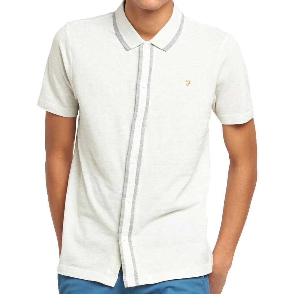 Farah Homerton Pique Polo Shirt - Chalk Marl - so-ldn