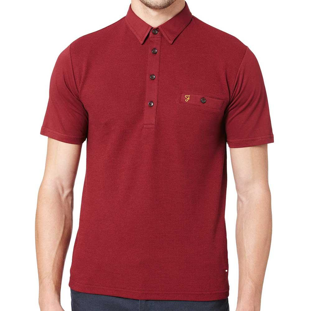 Farah Lester Short Sleeve Polo Shirt - Burgundy - so-ldn