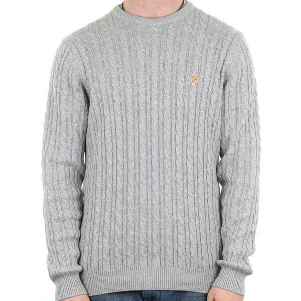 Farah Mens Lewes Crew Neck Cable Sweater - Grey - so-ldn