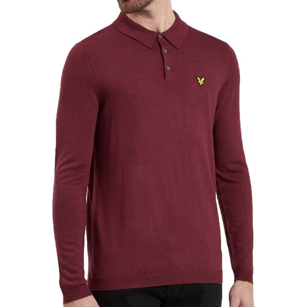 Lyle And Scott Knitted Polo Shirt - Claret Jug - so-ldn