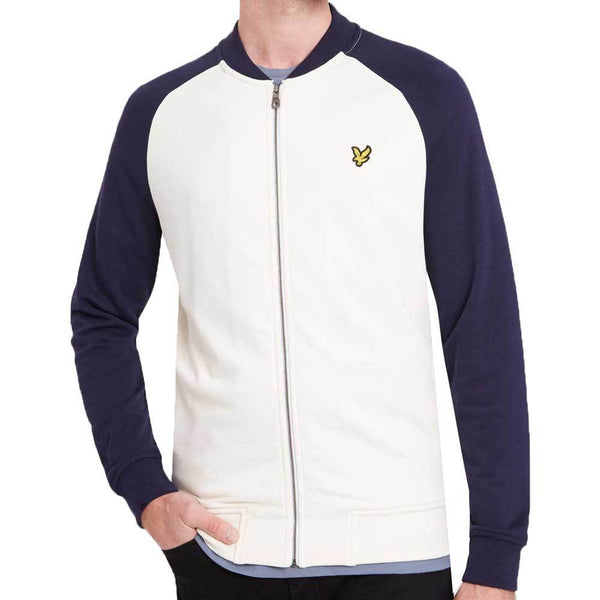 Lyle and Scott Mens Bomber Sweatshirt Seashell White - so-ldn