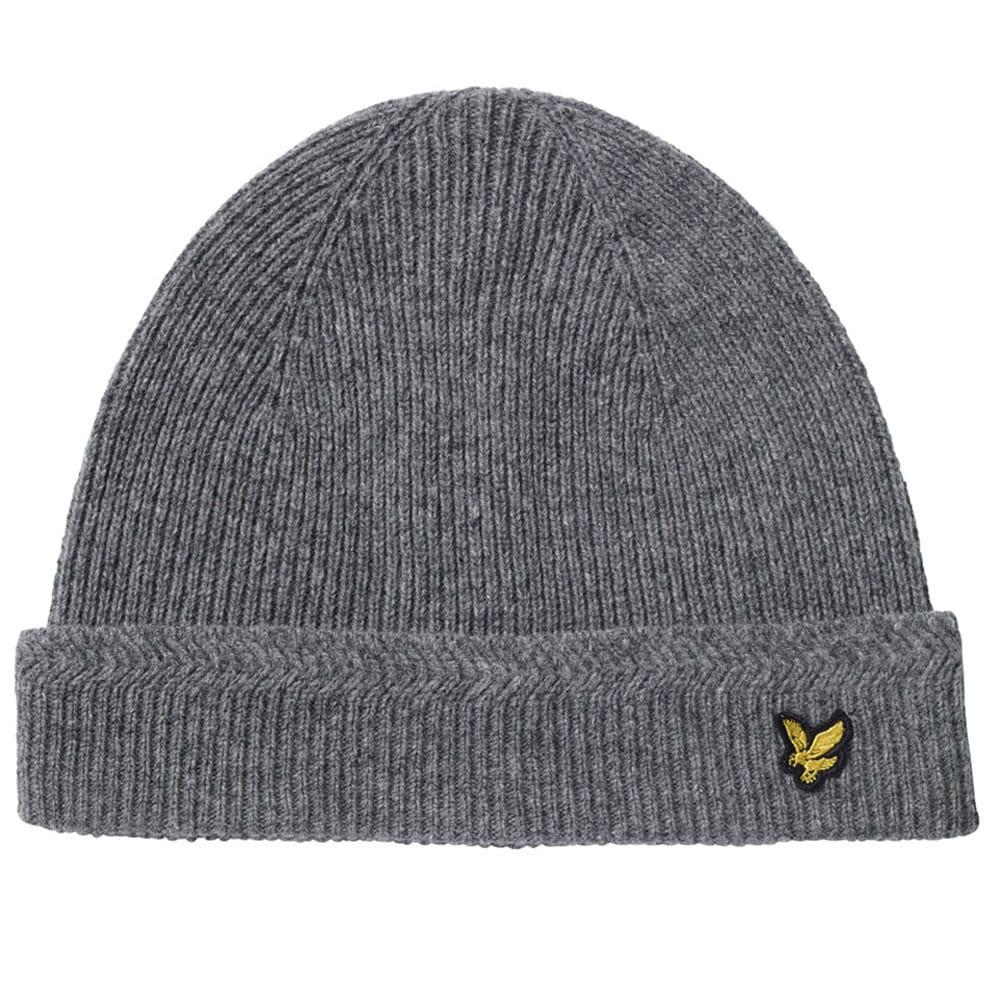 e37c0a890 Lyle & Scott Racked Rib Beanie Hat - Mid Grey Marl
