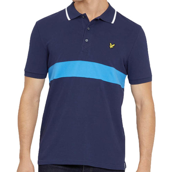 Lyle And Scott Stripe Pique Polo Shirt Navy - so-ldn