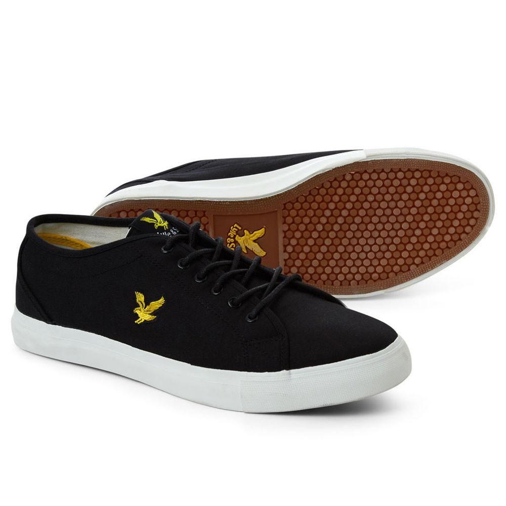 Lyle And Scott Teviot Canvas Plimsoll Trainers - True Black - so-ldn