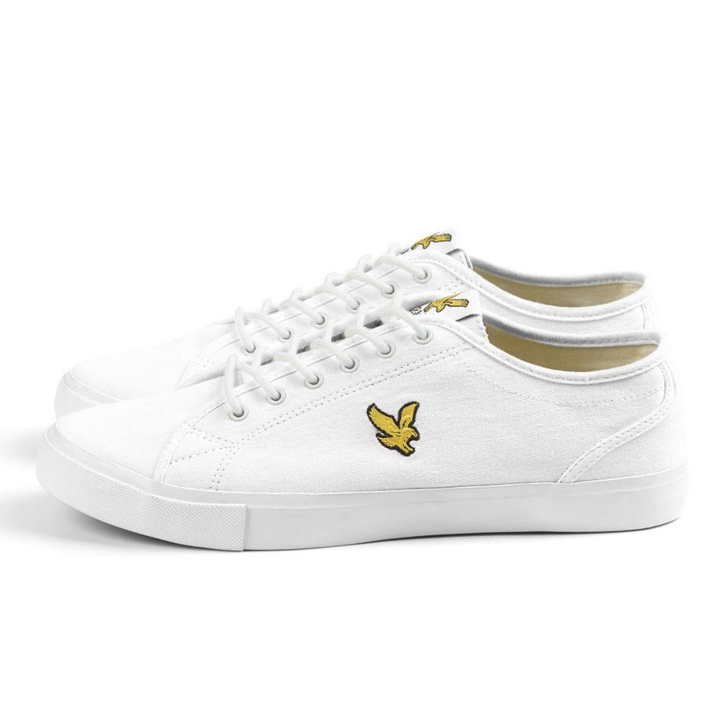 Lyle And Scott Teviot Canvas Plimsoll Trainers - White Twill - so-ldn
