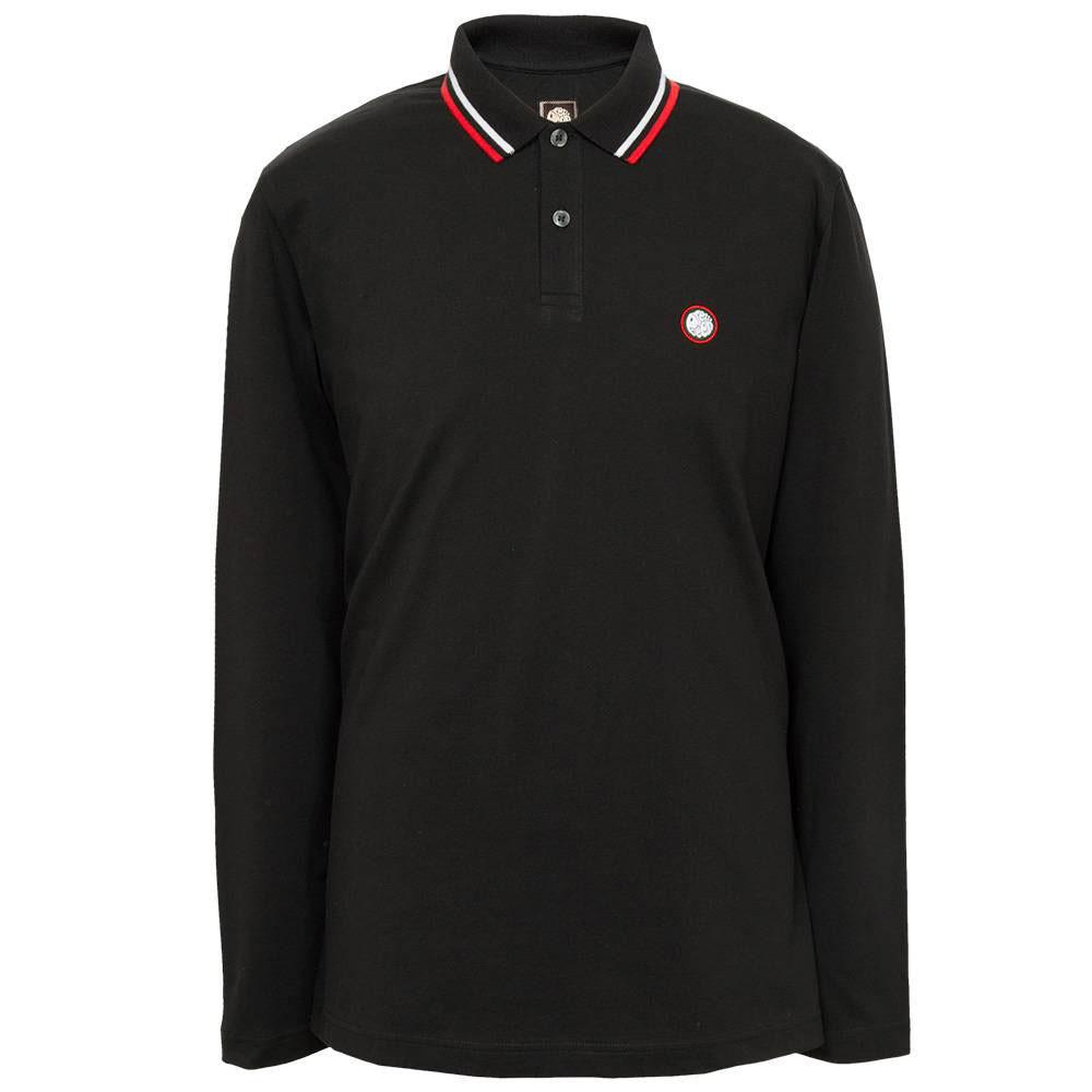 Pretty Green Long Sleeve Tipped Pique Polo  - Black - so-ldn