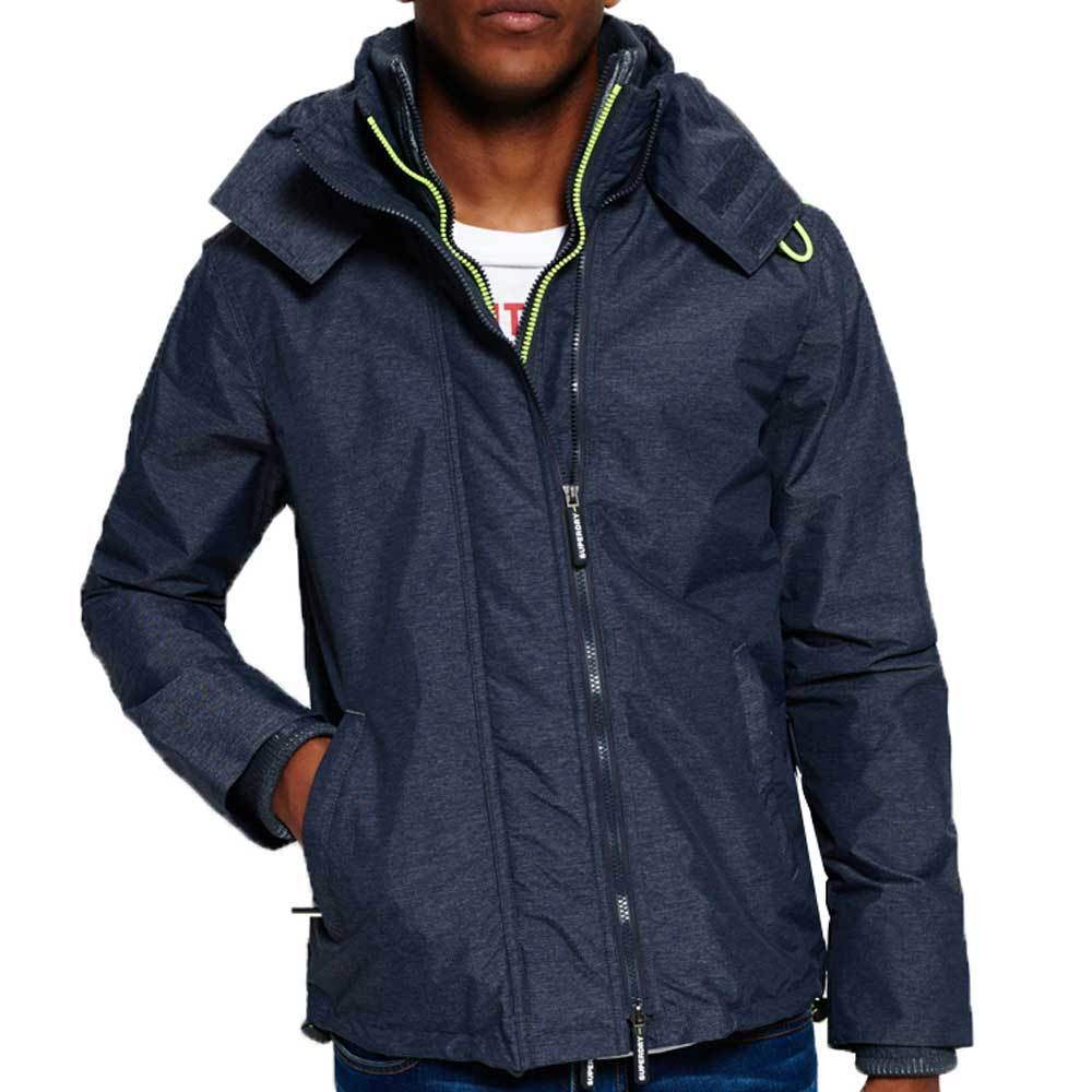 Superdry Mens Tech Hood Wind cheater Zip Jacket - Navy Marl/lemonade - so-ldn