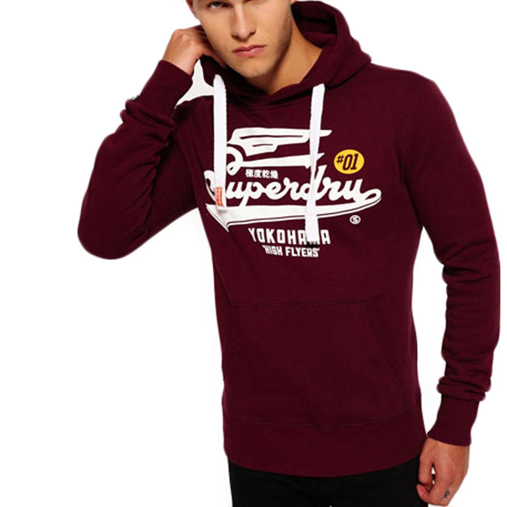 Superdry Mens High Flyer Reworked Hoodie - Rich Burgundy - so-ldn