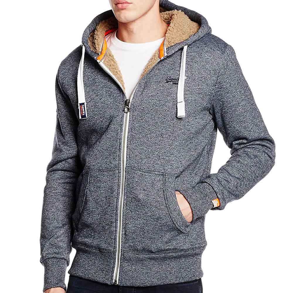 Superdry Orange Label Heavy Winter Zip Up Hoodie - Navy Mega Grit - so-ldn