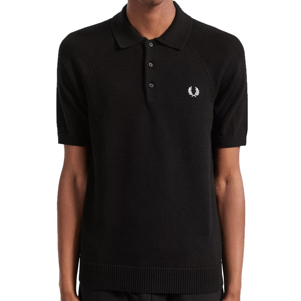 Fred Perry Authentic Textured Knit Polo - Black K7500