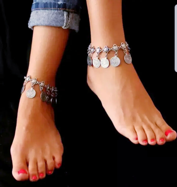 Antique Silver Coin Ankle Bracelet