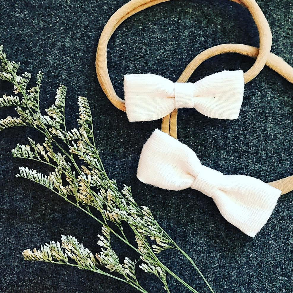 Palest Pink Linen Baby Bow