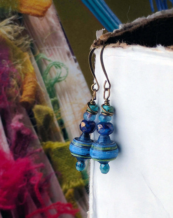 JoHa Designs - Handcrafted Mountain Sunset Paper Bead Dangle Earrings