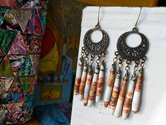 JoHa Designs - Handcrafted Paper Bead Chandelier Earrings
