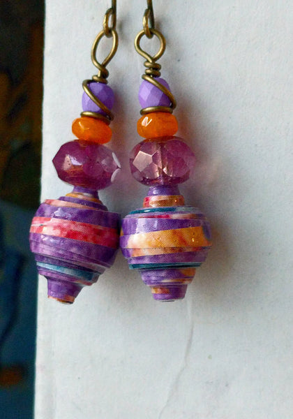 JoHa Designs - Handcrafted Pastel Paper Bead Dangle Earrings